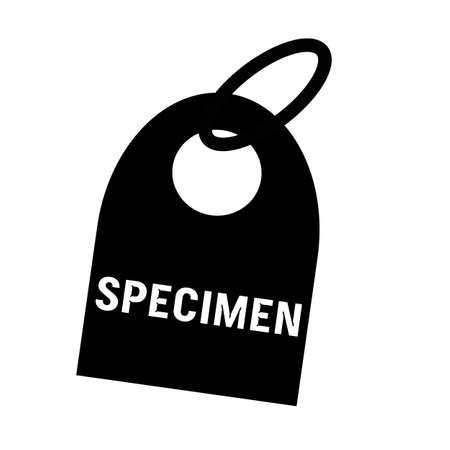 specimen: SPECIMEN white wording on background black key chain