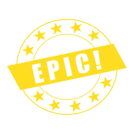 epic: EPIC white wording on yellow Rectangle and Circle yellow stars