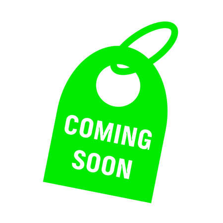 key chain: coming soon white wording on background green key chain Stock Photo