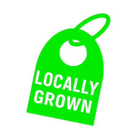locally: locally grown white wording on background green key chain