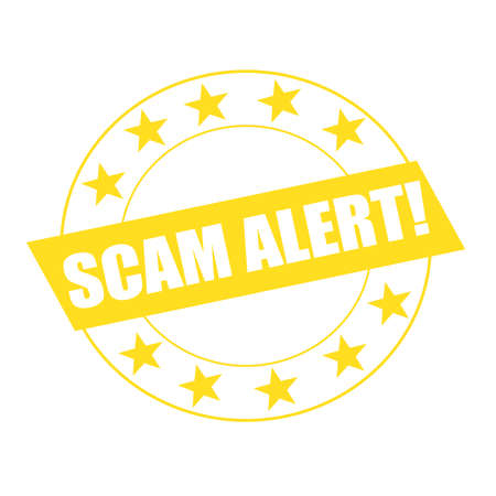 scam: SCAM alert white wording on yellow Rectangle and Circle yellow stars Stock Photo