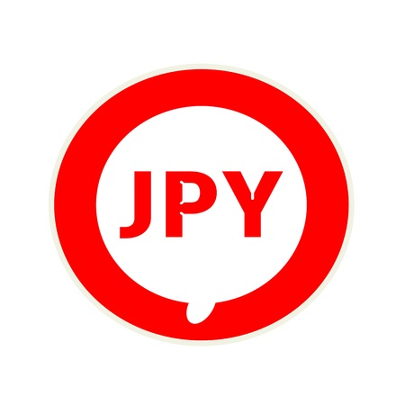 jpy: JPY red wording on Circular white speech bubble Stock Photo