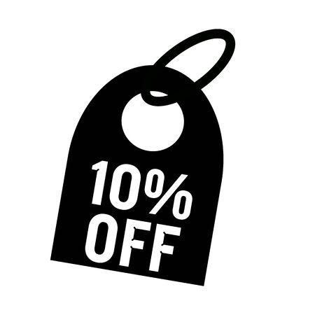 10 key: 10% OFF white wording on background black key chain