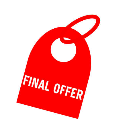 key chain: Final offer white wording on background red key chain Stock Photo