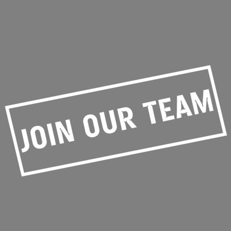 join our team: Join our team white wording on rectangle gray background Stock Photo