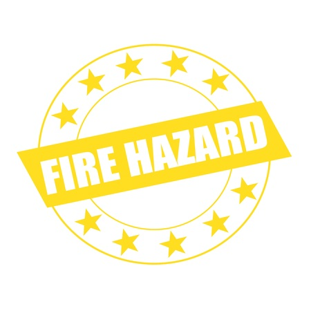 fire hazard: Fire Hazard white wording on yellow Rectangle and Circle yellow stars