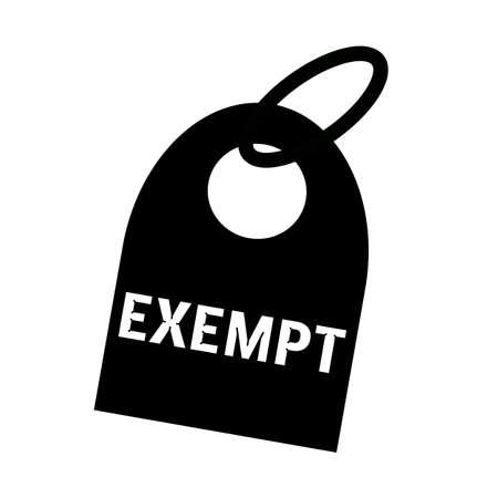 exempt: EXEMPT white wording on background black key chain Stock Photo
