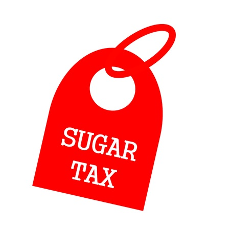 key chain: SUGAR TAX white wording on background red key chain Stock Photo