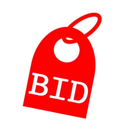 bid: OFERTA redacción blanco sobre fondo rojo Llavero