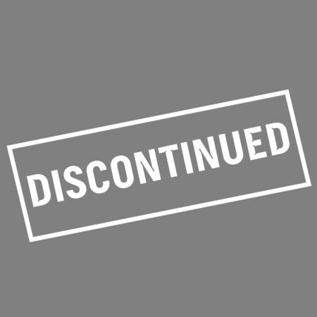 discontinued: Discontinued white wording on rectangle gray background