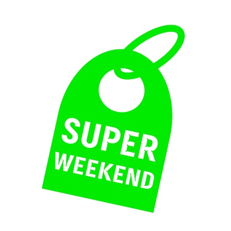 key chain: super weekend white wording on background green key chain