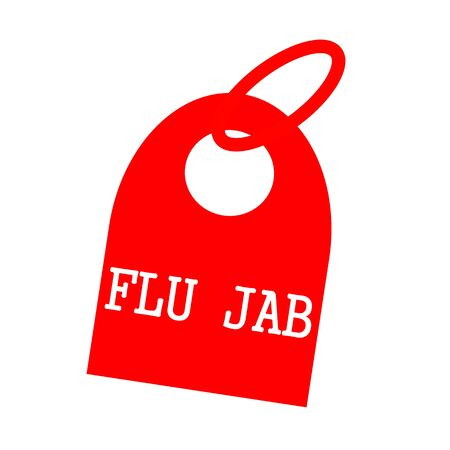 key chain: FLU JAB white wording on background red key chain