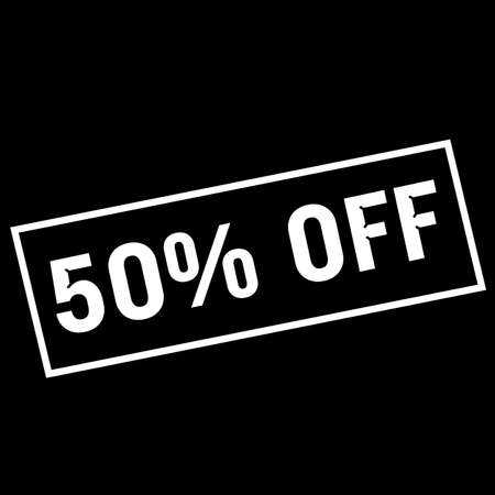 off white: 50% OFF white wording on rectangle black background