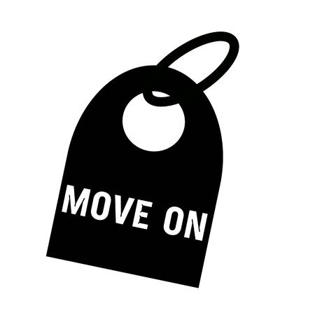 key chain: MOVE ON white wording on background black key chain