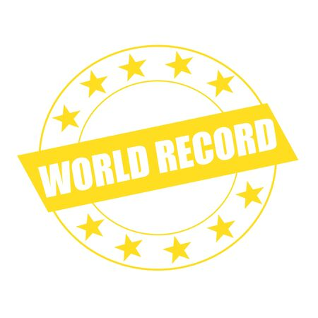 world record: WORLD RECORD white wording on yellow Rectangle and Circle yellow stars