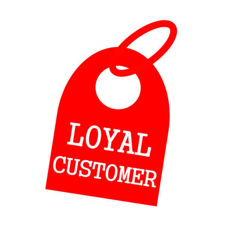 key chain: LOYAL CUSTOMER white wording on background red key chain