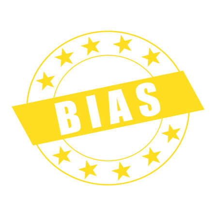 bias: BIAS white wording on yellow Rectangle and Circle yellow stars