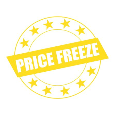 freeze: PRICE FREEZE white wording on yellow Rectangle and Circle yellow stars Stock Photo