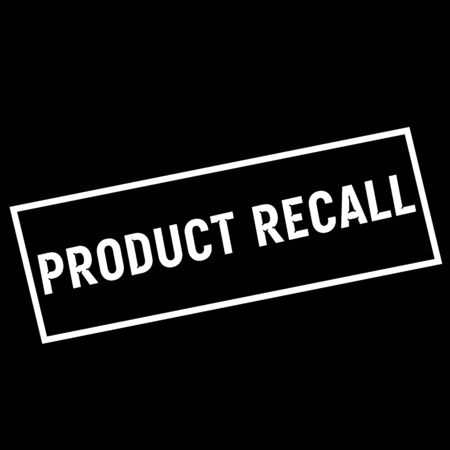recall: PRODUCT RECALL white wording on rectangle black background