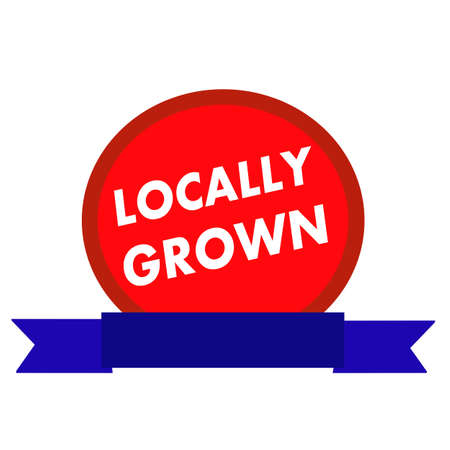 locally: locally grown white wording on Circle red background ribbon blue