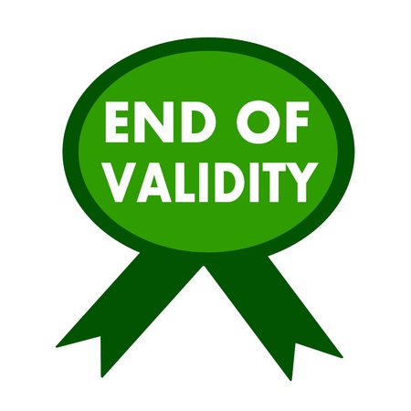 validez: end of validity white wording on background green ribbon