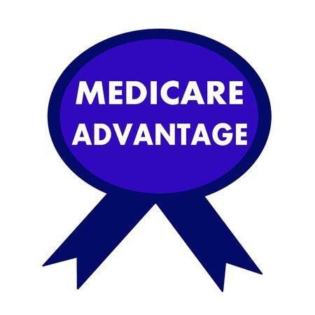 medicare: medicare advantage white wording on background blue ribbon