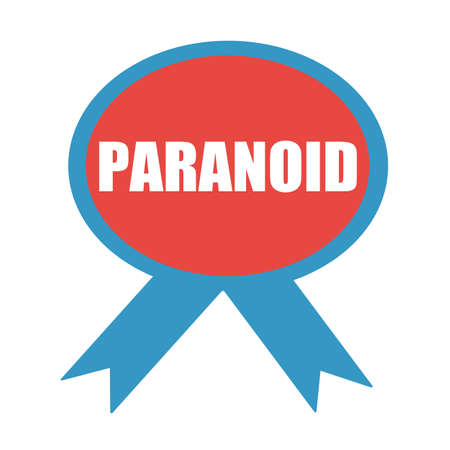 paranoid: PARANOID white wording on background red ribbon