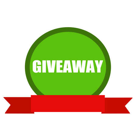 giveaway: Giveaway white wording on Circle green background ribbon red