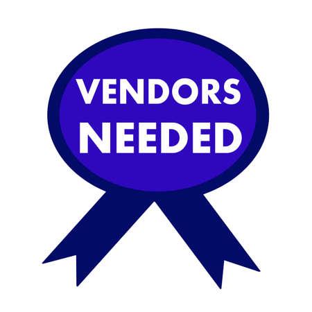 vendors: vendors needed white wording on background blue ribbon Stock Photo