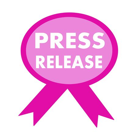 press release: press release white wording on background pink ribbon