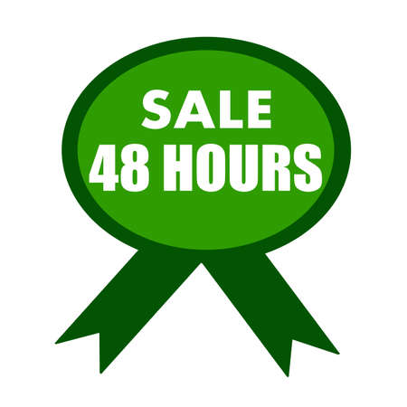 green ribbon: sale forty eight hours white wording on background green ribbon
