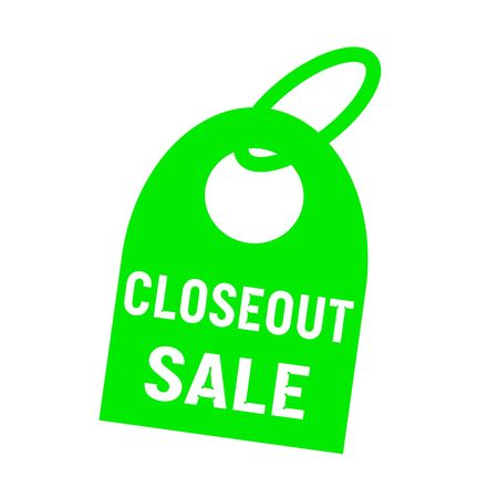 closeout: closeout sale white wording on background green key chain