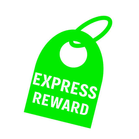 key chain: express reward white wording on background green key chain Stock Photo