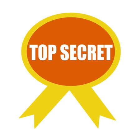 secret word: top secret white wording on background Orange ribbon