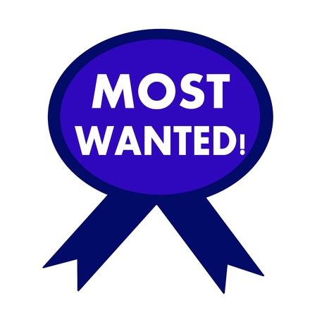 most: most wanted white wording on background blue ribbon Stock Photo