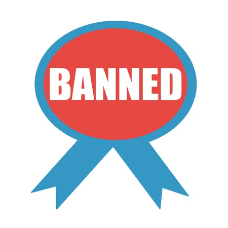 banned: BANNED white wording on background red ribbon