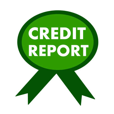 credit report: credit report white wording on background green ribbon