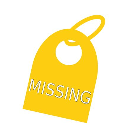 key chain: MISSING white wording on background yellow key chain Stock Photo