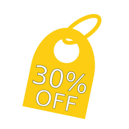 key chain: 30% OFF white wording on background yellow key chain