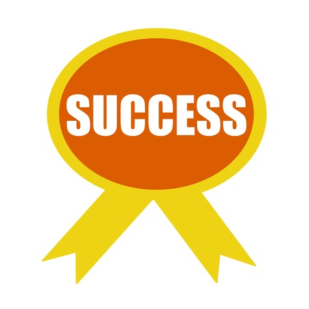 wording: Success white wording on background Orange ribbon