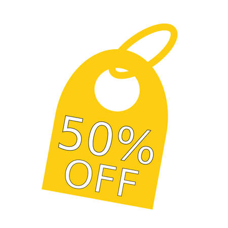 key chain: 50% OFF white wording on background yellow key chain