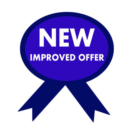 new and improved: new improved offer white wording on background blue ribbon