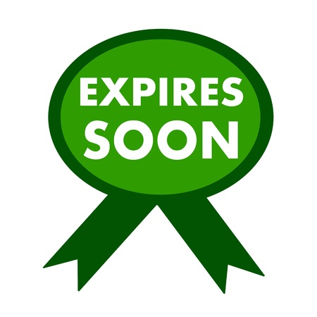 expires: expires soon white wording on background green ribbon