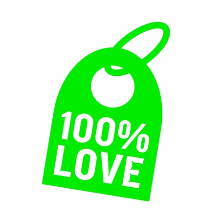 key chain: one hundred percent love white wording on background green key chain