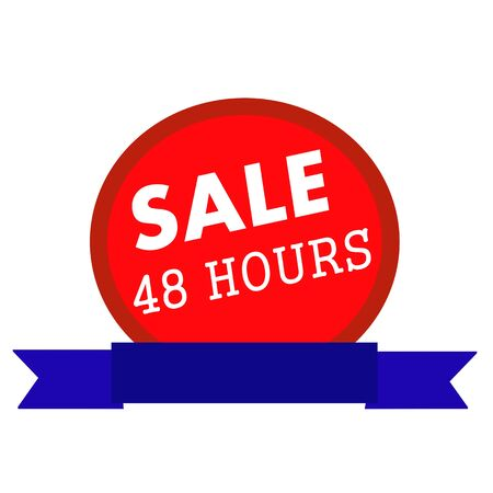 forty: sale forty eight hours white wording on Circle red background ribbon blue