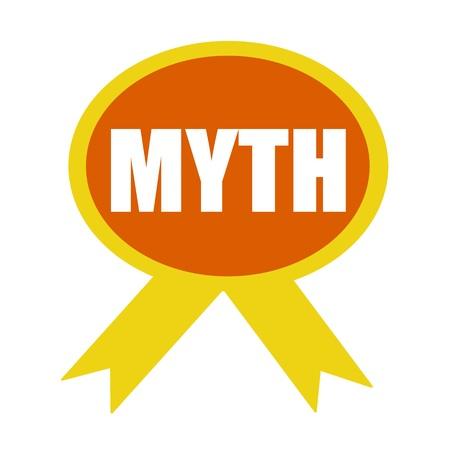 myth: MYTH white wording on background Orange ribbon Stock Photo