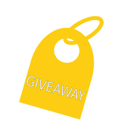 giveaway: Giveaway white wording on background yellow key chain Stock Photo