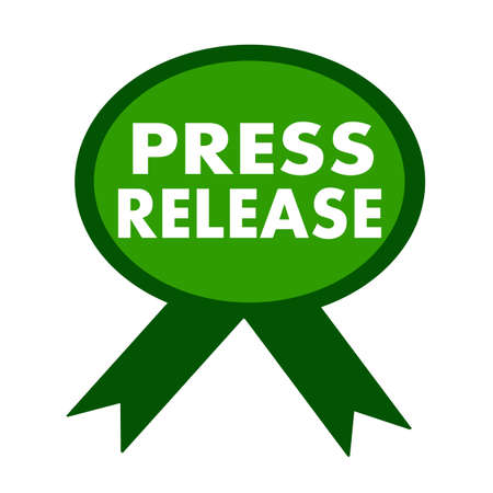 press release: press release white wording on background green ribbon