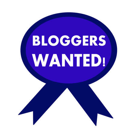 bloggers: bloggers wanted white wording on background blue ribbon