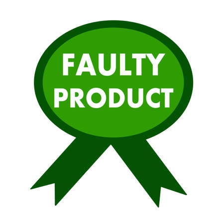 faulty: faulty product white wording on background green ribbon Stock Photo